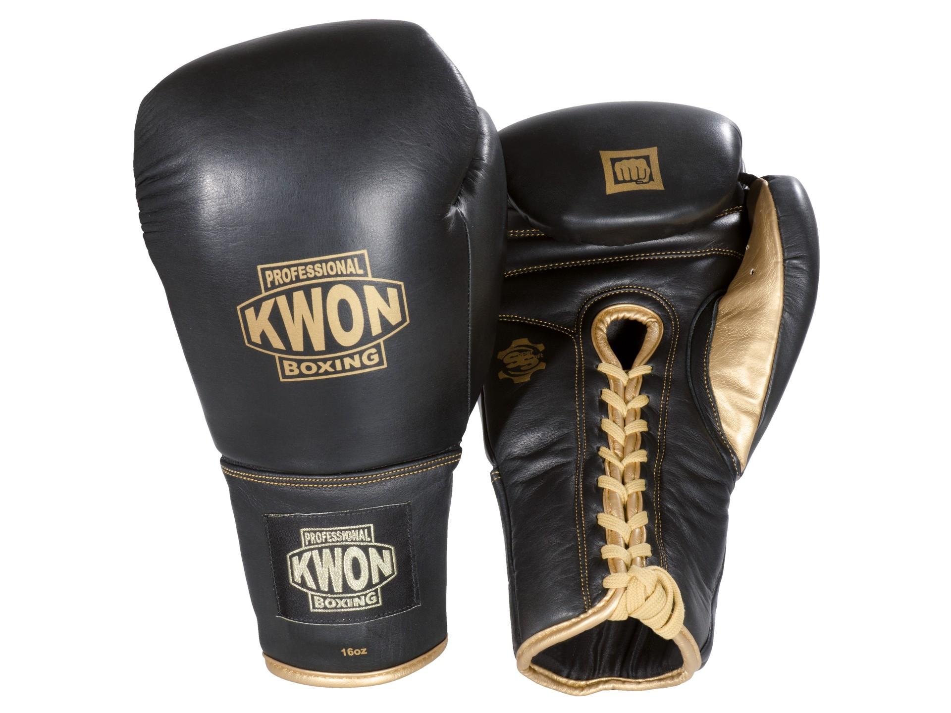 Boxhandschuhe Sparring mit Schnürung oder Klettverschluss Kwon schwarz 16 18 Oz Weitere Sportarten
